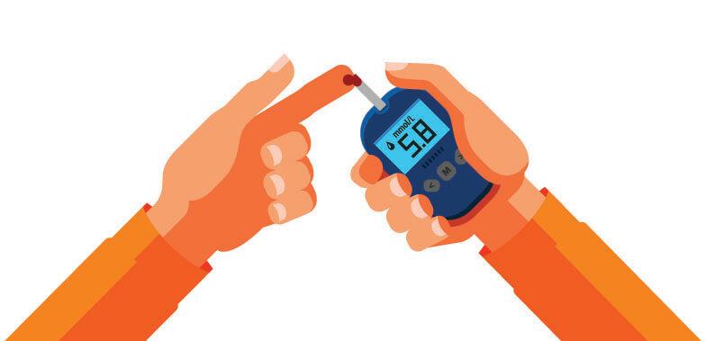 An illustration of pricking a finger to test blood sugar
