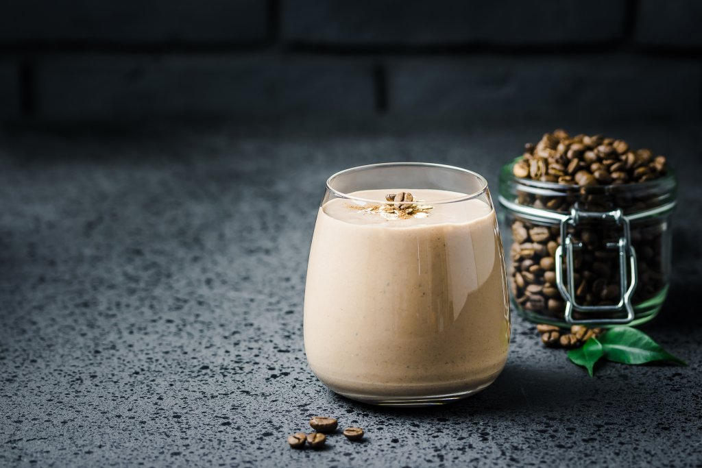 An image of a chocolate shake with coffee beans