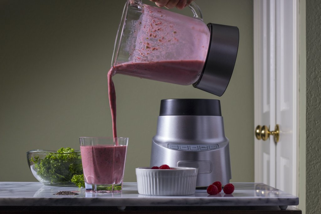 a picture of a shake pouring from a blender