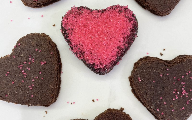 A photo of valentine's heart cookies