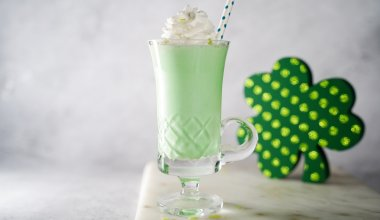 A picture of a green shamrock shake