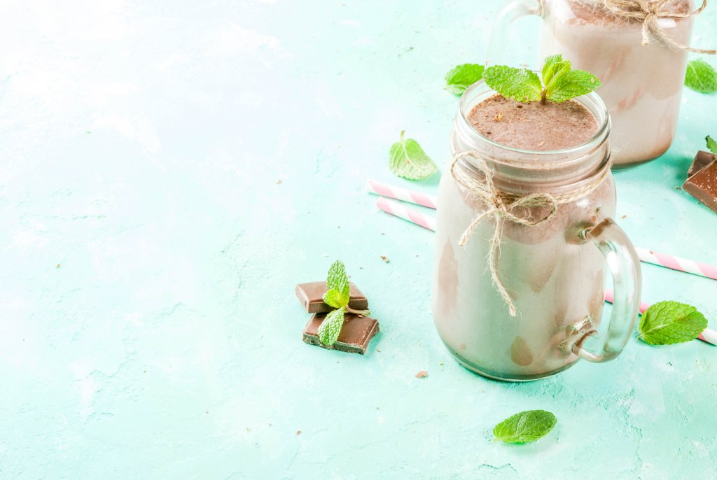 A shake with chocolate mint and vanilla