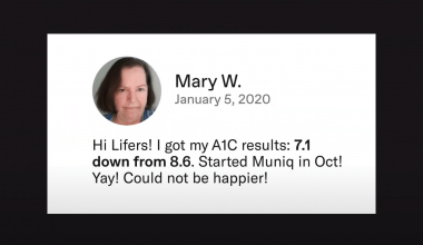 A facebook post about lower a1c
