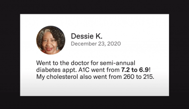 An image of a facebook post showing lower blood sugar results